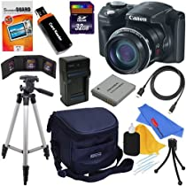 Canon PowerShot SX500 IS 16.0 MP Digital Camera with 30x Optical IS Zoom (Black) + NB-6L Battery & AC/DC Battery Charger + 10pc Bundle 32GB Deluxe Accessory Kit