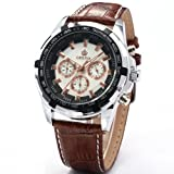 Orkina Mens White Dial 24Hrs Stopwatch Sport Coffee Leather Quartz Wrist Watch ORK066