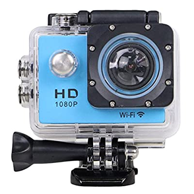 """YOCI 1080P Waterproof Sports Action Camera 1080P 14M Camcorder 30 meters Underwater Photographic Body Mounted Ourtdoor DV + NT96655 DSP 2.0"""" LCD + 170° Wide Angle Lens + 2 Batteries (Blue) by YOCI Technology"""
