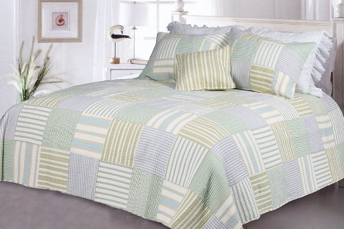 [Spa Stripe's] 100% Cotton 2PC Vermicelli-Quilted Striped Patchwork Quilt Set (Twin Size)