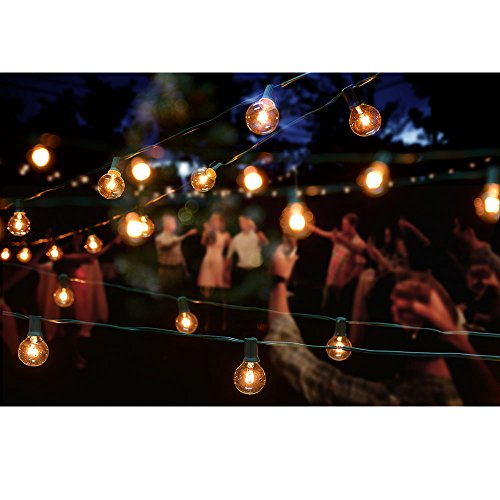 Globe String Lights, Image 50ft G40 Clear Bulb String Lights with 50 Bulbs-UL Listed for Indoor ...