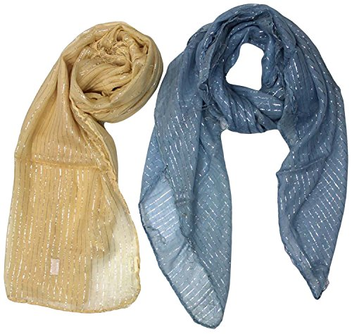 RC RC Unisex Stole- Pack Of 2 (Blue And Beige)