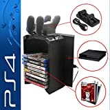 Anrain PS4/PS4 Slim Multifunctional Detachable Holder Game Disk Storage Tower with Dual Dock Controller Charging Station and Console Stand Holder (Color: PS4/SLIM/PRO Storage)