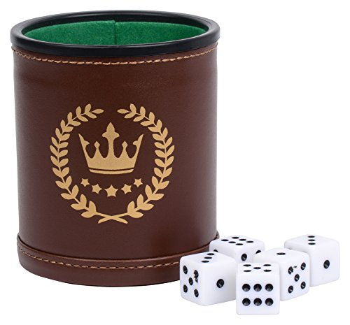 Professional Dice Cup Made Of Brown Leatherette And Casino Green Felt Interior - With A 5 Dice Set by Park City Games
