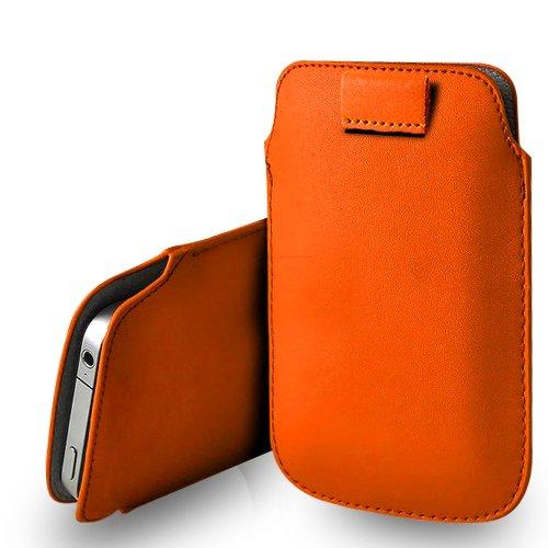 Huawei Ascend G620s Orange Leder Pull Tab Tasche Tasche & Poliertuch
