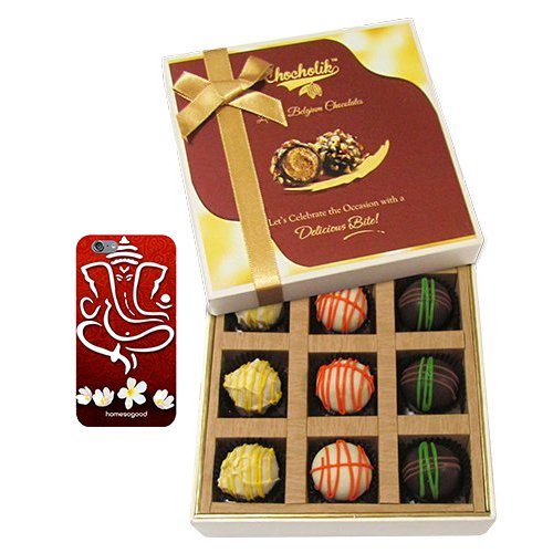 Chocholik Belgium Chocolates - 9pc Scrumptious White Collection Of Chocolates With With 3d Mobile Cover For IPhone...