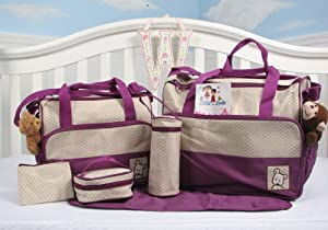 SoHo- Lavender Diaper bag with changing pad 6 pieces set