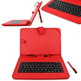 DURAGADGET Red Protective Leather Look Case With Micro USB German Keyboard Connection & Built In Stand For CnM Touchpad, Kocaso M1070 10.1