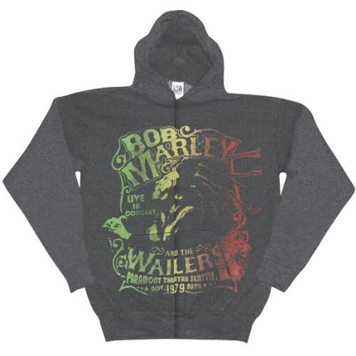 Old Glory Mens Bob Marley - 1979 Wailers Live Zip Hoodie - 2X-Large Grey