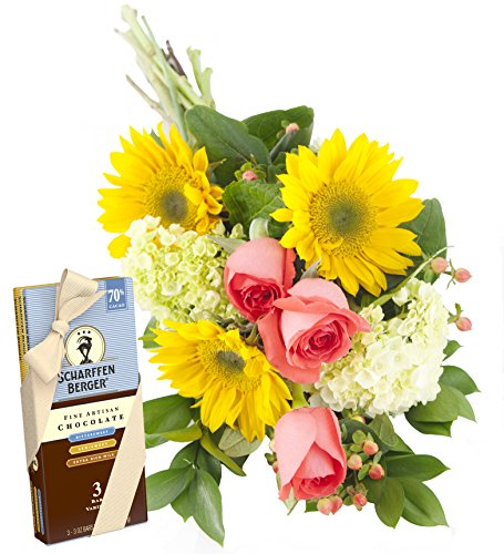 You Are My Sunshine Bouquet and Scharffen Berger Chocolate -Without Vase