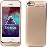 Kujian iPhone 5 5S 5C Battery Case External Portable Battery Charging Case 2200 Mah for iPhone 5 5S 5C with 4 LED Lights and Built-in Kickstand Holder (Gold)