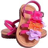 Toddlers Girls Babies Childrens Kids Fuchsia Multi Pink Floral Strappy Sandals Flip Flops Pumps Gladiators Size 4-12