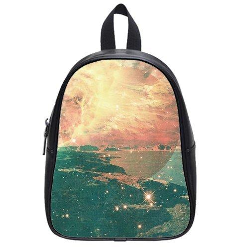 Generic Custom Fire Water Sea Ocean Star Planet Galaxy Universe Printed Black School Bag Backpack Fit Short Trip Pu Leather Medium front-1058850