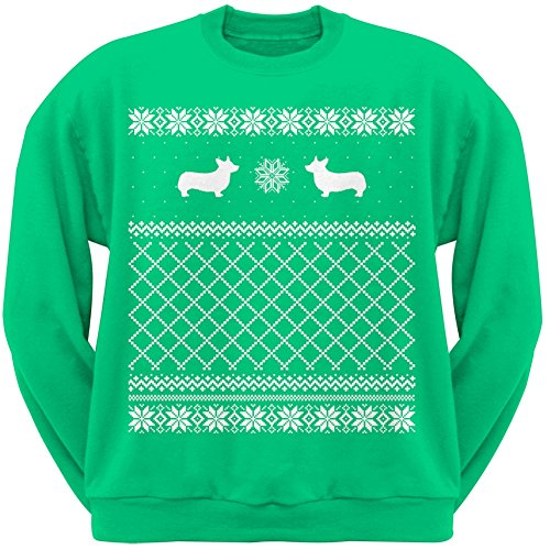 Corgi Green Adult Ugly Christmas Sweater Crew Neck Sweatshirt - Small
