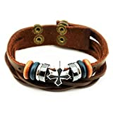 crazy Wind (TM) good Cross gold Tone Wooden Plate Button Adjustable Length Multi-Strand Leather Wrap Bracelet