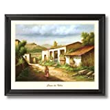 Mexican Casa De Villa Spanish Landscape Home Decor Wall Picture Black Framed Art Print