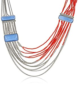 """Kenneth Cole New York Blue and Red Bead Multi-Row Necklace, 23"""""""