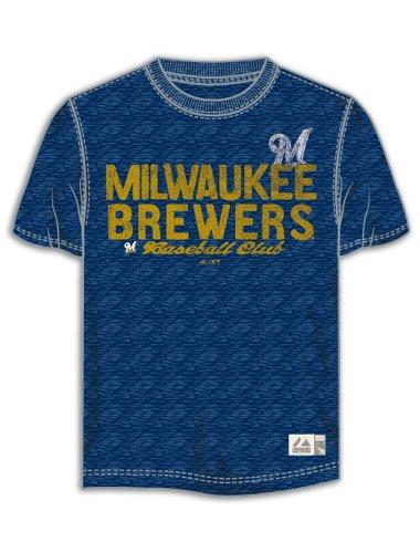 Mlb Milwaukee Brewers Heather Screen Print Jersey, Navy, 5X-Large