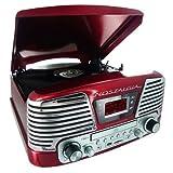 PLATINE TOURNE DISQUES 3 VITESSES-SD-LECTEUR CD-RADIO-ENCODEUR-USB 2.0-MP3 ROUGE META