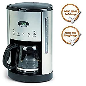 Percolator Coffee Maker With Timer : Coffee Maker with Timer + 1.8L Glass Jug + Warming Plate, Stainless Steel Coffee Machine with 24 ...
