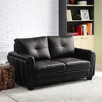 Black Faux Leather Low Profile Loveseat
