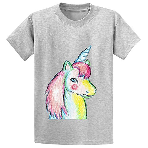 Mcol Unicorn Pony Girls Crew Neck Print T-shirt Grey (My Lil Pony Table compare prices)