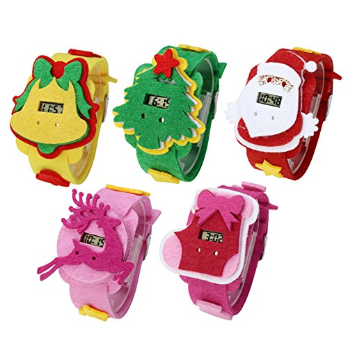 Top Plaza Christmas Watches Gift Set Electronic Digital LED Display Children Watch Pack of 5