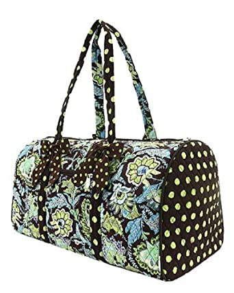 Belvah Brown & Lime Quilted Floral Large Duffle Bag