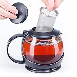 bobuCuisine Stunning Glass Teapot Globe with Cozy Warmer, 1200 Ml - Embellish Your Kitchen - No Spill - Large Enough for 4 to 5 Cups of Tea - Rust Free Mesh Infuser