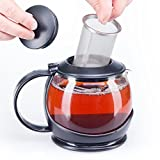 bobuCuisine Stunning Glass Teapot Globe with Cozy Warmer, 1200 Ml/40oz - Embellish Your Kitchen - No Spill - Large Enough for 4 to 5 Cups of Tea - Rust Free Mesh Infuser