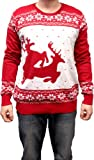Ugly Christmas Sweater Two Big Humping Reindeer Adult Red Sweater