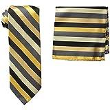 Stacy Adams Men's Microfiber Stripped Tie Set, Gold, One Size