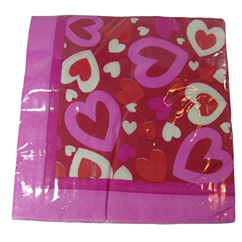 Valentines Pink White & Red Hearts Napkins 18 Pieces