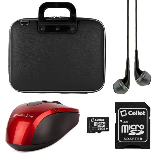 Lenovo Sumaclife Cady Collection Durable Semi Hard Shell Protective Carrying Case W\/ Removable Shoulder Strap (Black) For Lenovo Thinkpad \/ Thinkpad Edge \/ Essential \/ Ideapad 15.6 Inch Laptops + Black VG Stereo Headphones With Mic + Red Sumaclife Wireless USB Mouse And Adapter + Cellet 16GB Memory Card & SD Adapter (Multicolor)