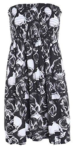 Nuovo da donna Sheering senza spalline Bandeau Boobtube Top Vestito Taglie 8-14 Skull&Rose Medium / Large