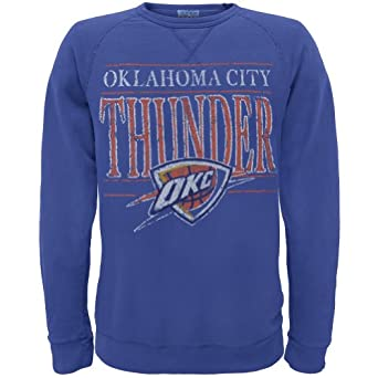 Oklahoma City Thunder - Distressed Classic Logo Crew Neck Sweatshirt by Old Glory