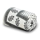 UFC Mart Handblock Grey Print Cotton Double Bed Comforter