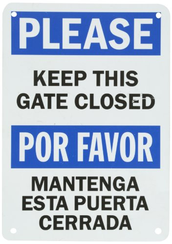 "Smartsign Plastic Sign, Legend ""Please Keep This Gate Closed"", Bilingual Sign, 10"" High X 7"" Wide, Black/Blue On White"