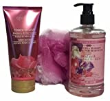 Sweet Pea Blossom Hand Wash With Blackberry & Lilac Scented Body Lotion And Matching Bath Pouf Sponge (3 Items In Bundle)