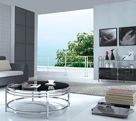Cj 068 Contemporary Stainless Steel Coffee Table With Black Glass Top