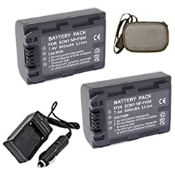 ValuePack (2 Count): Extended Life Replacement Battery PLUS Mini Battery Travel Charger for Specific Digital Camera and Camcorder Models / Compatible with Sony NP-FH50 NPFH50 DCR-DVD103 DCR-DVD105 DCR-DVD108 DCR-DVD203 DCR-DVD205 DCR-DVD305 DCR-DVD308 DCR-DVD403 DCR-DVD405 Charges with Intelligent Charge Technology - Includes Car Adapter Hard Case Camera Bag and TWO Batteries