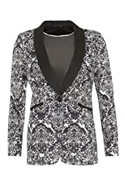 M&S Woman Cotton Rich Single Breasted Lace Print Jacket [T91-1723-S]