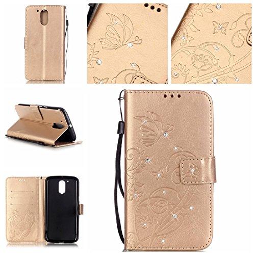 Nancen Motorola Moto G4 (5,5 pouces) coque , PU cuir flip housse Étui Cover Case Wallet Stand avec Carte de Crédit Fentes pour , idéal pour protéger