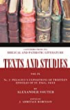 img - for Pelagius's Expositions of Thirteen Epistles of St. Paul. II: Text and Apparatus Criticus (Texts and Studies: Contributions to Biblical and Patristic L) book / textbook / text book