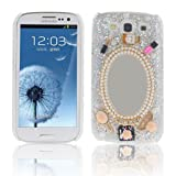 Leegoal(TM) Silver Luxury 3D Mirror & Fashion Accessories Diamond Crystal Case Cover For Samsung Galaxy S3 III i9300 With Accessories Sreen Protector,Anti Dust Plug