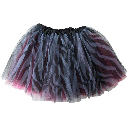 Ballerina Basic Girls Dance Dress-Up Princess Fairy Costume Dance Recital Tutu (Zebra Hot Pink)