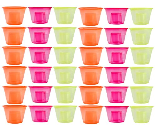 Green Direct 30 Disposable Jager Bomb Cups / Two Part Shot Glasses - Neon Yellow, Orange, Red
