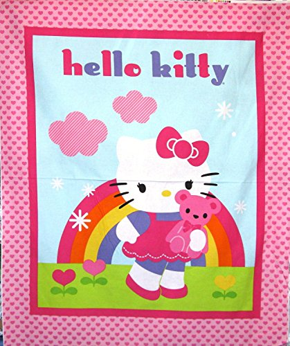 Hello-Kitty-Teddy-Quilt-Top-Cotton-Fabric-Panel-Officially-Licensed-Great-for-Quilted-Throw-Quilting-Sewing-Craft-Projects-Wall-Hangings-Throw-Pillows-and-More-35-X-44-Tall