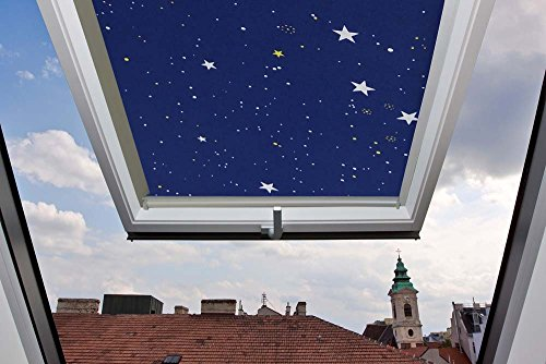 Für Velux Fenster GGU / GGL / GPU / GPL / GHU / GHL / GTU / GTL / GXU / GXL 410 Dachfensterrollo, Verdunkelungsrollos in Sternenhimmel - 77,5x136,2cm (Breite x Länge) - mit seitlichen Führungsschienen aus Aluminium