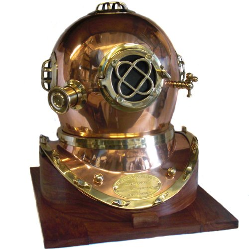 Full-Size U.S. Navy Mark V Copper & Brass Diving Helmet Replica with Wooden Base